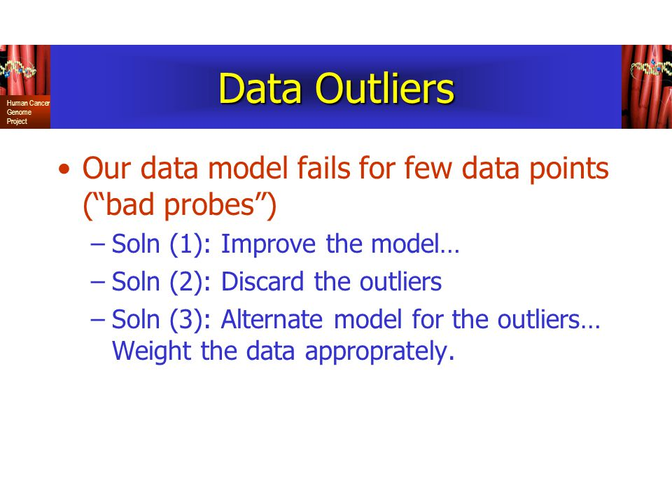 Data Outliers Our data model fails for few data points ( bad probes )