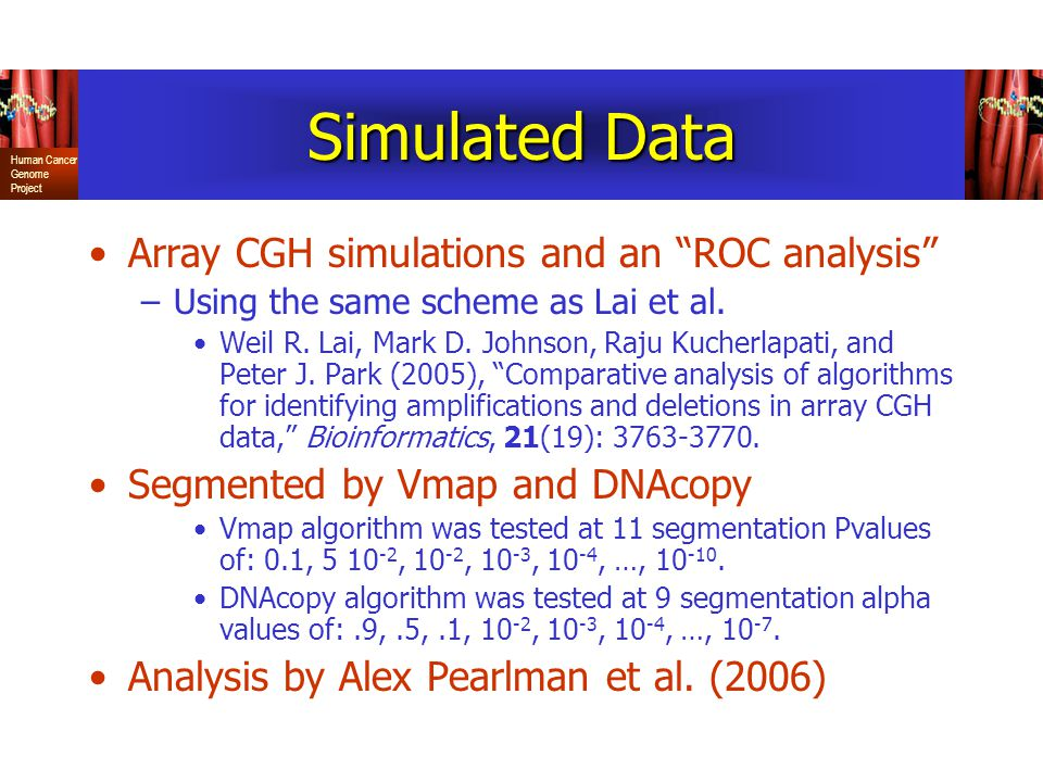 Simulated Data Array CGH simulations and an ROC analysis