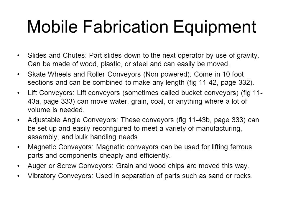 Mobile Fabrication Equipment
