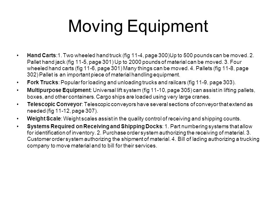 Moving Equipment