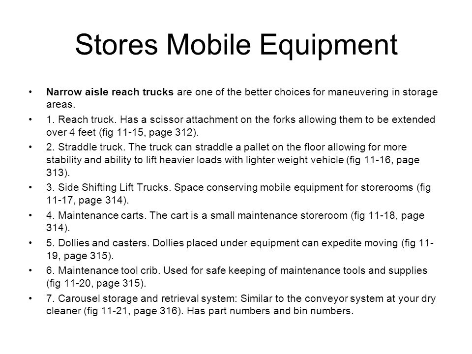 Stores Mobile Equipment