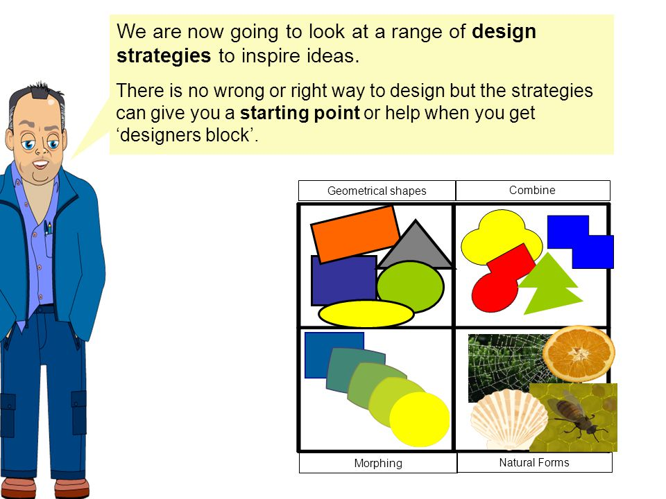 We are now going to look at a range of design strategies to inspire ideas.