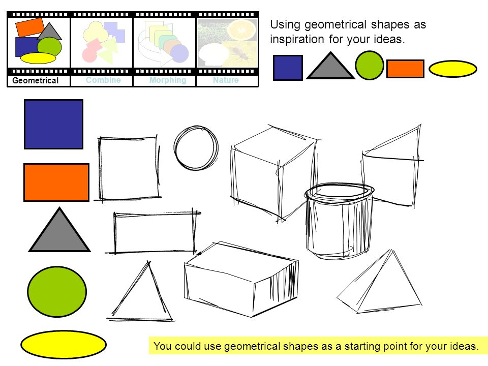 Using geometrical shapes as inspiration for your ideas.