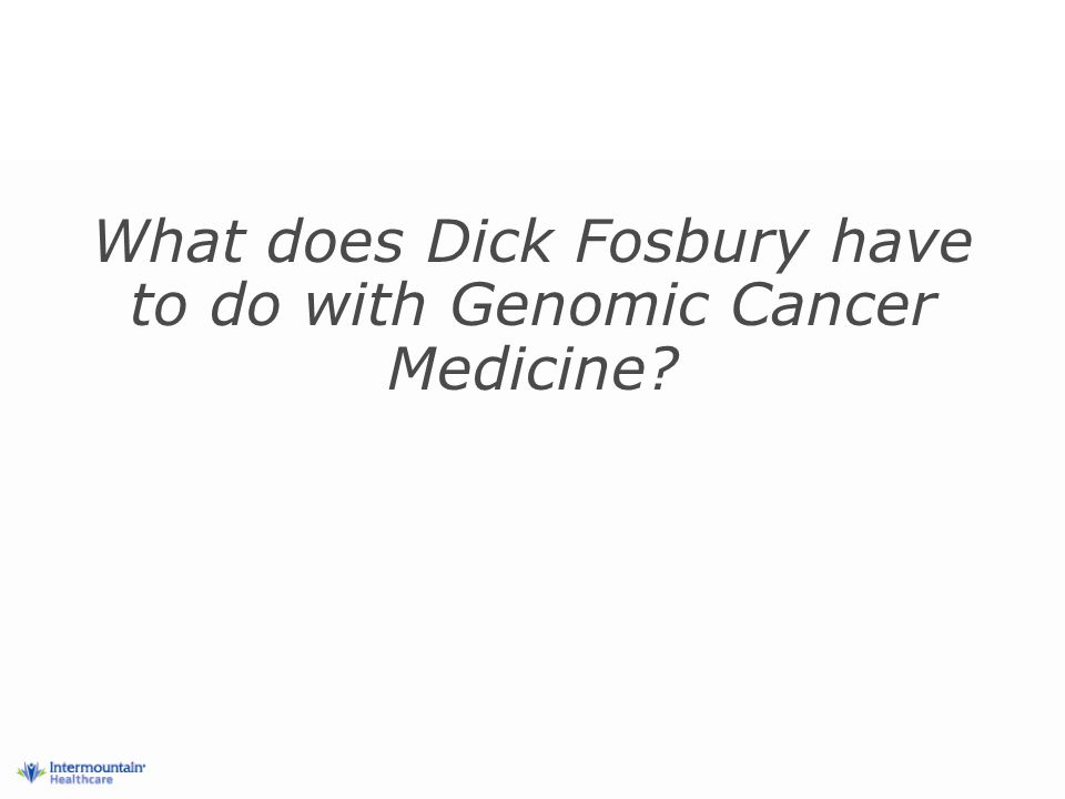 What does Dick Fosbury have to do with Genomic Cancer Medicine