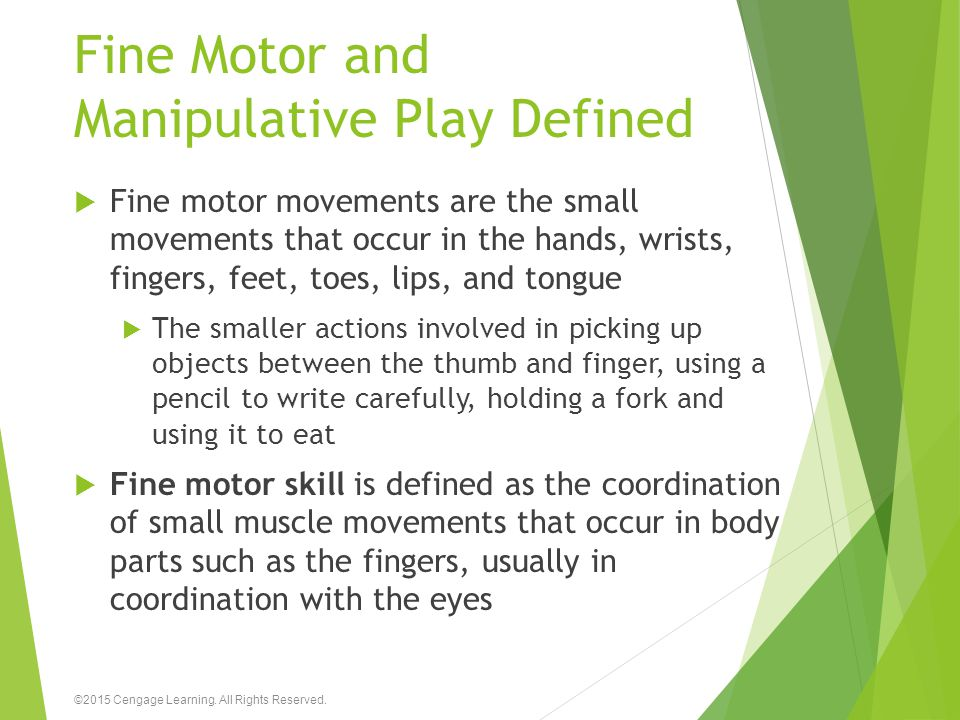 Fine Motor and Manipulative Play Defined