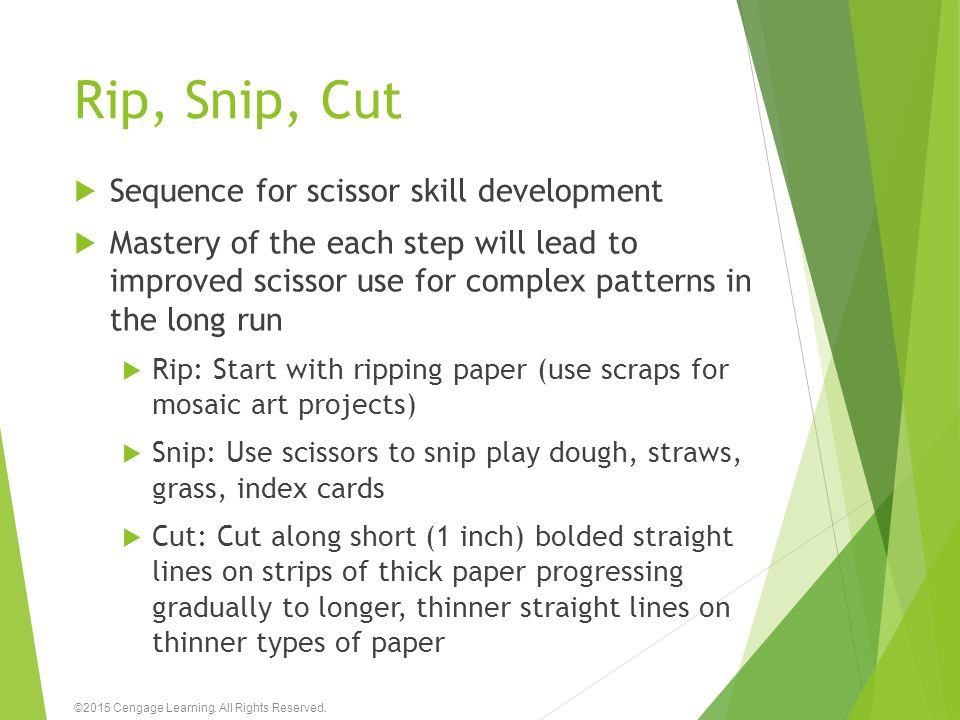 Rip, Snip, Cut Sequence for scissor skill development