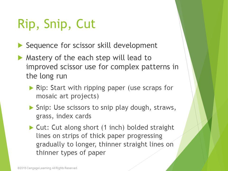 Rip, Snip, Cut Sequence for scissor skill development