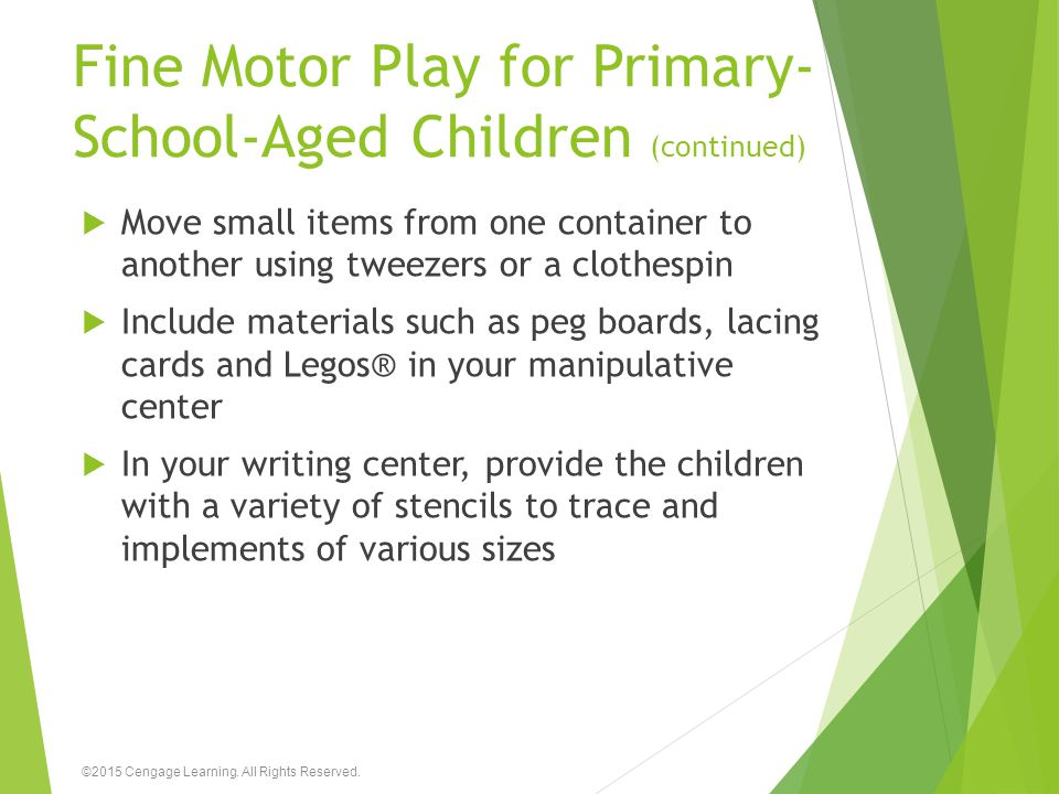 Fine Motor Play for Primary-School-Aged Children (continued)