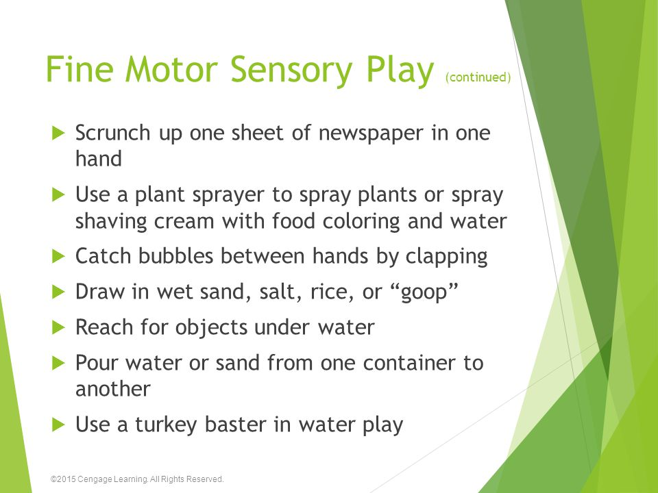 Fine Motor Sensory Play (continued)