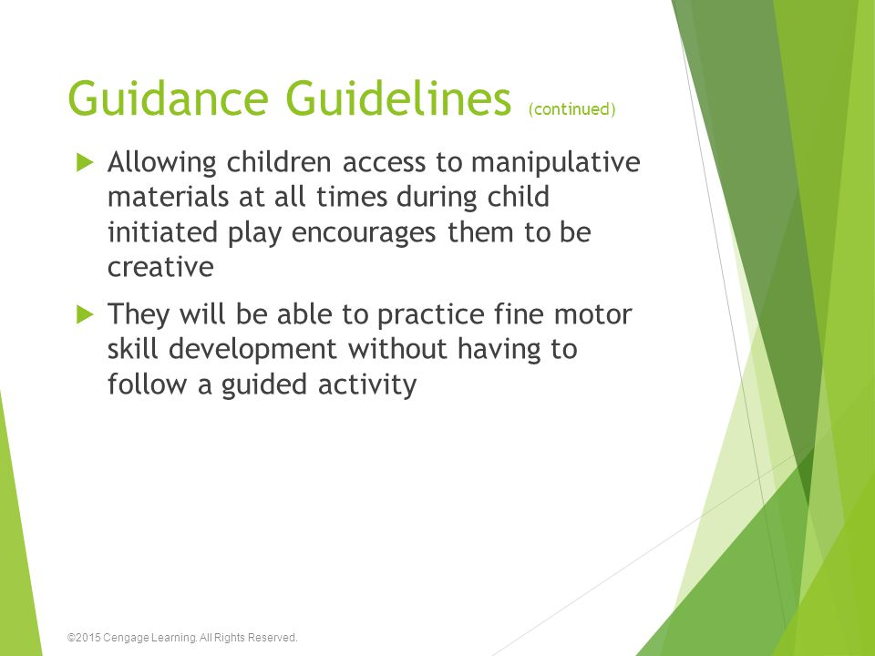 Guidance Guidelines (continued)