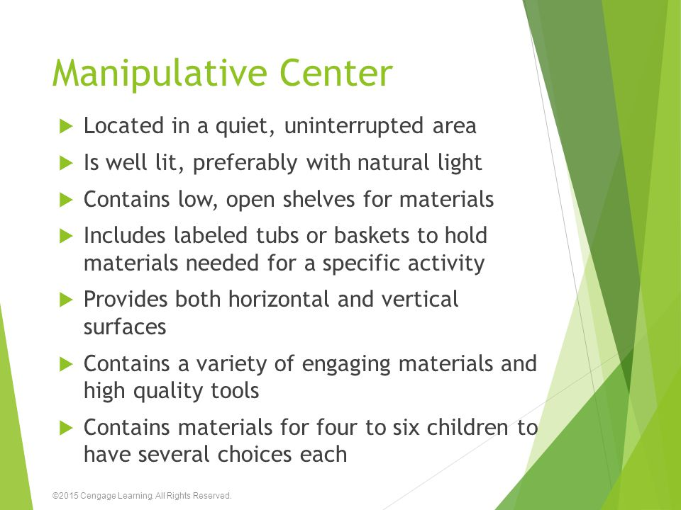 Manipulative Center Located in a quiet, uninterrupted area