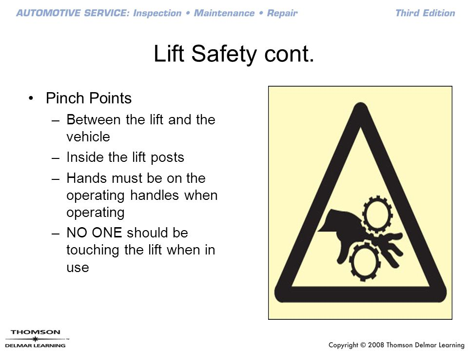Lift Safety cont. Pinch Points Between the lift and the vehicle