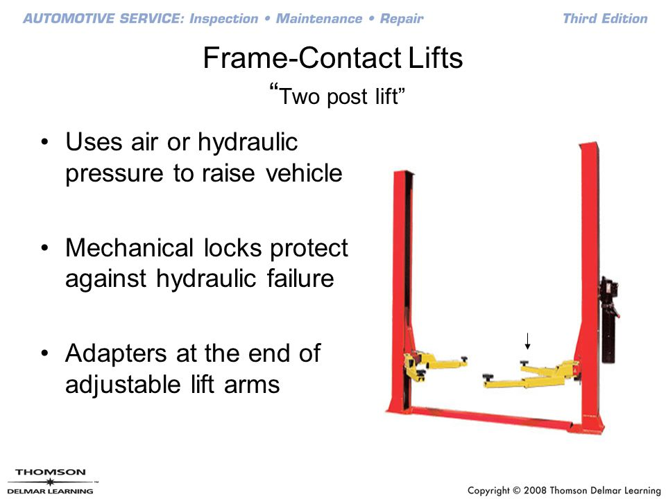 Frame-Contact Lifts Two post lift