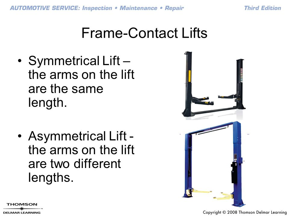 Frame-Contact Lifts Symmetrical Lift – the arms on the lift are the same length.