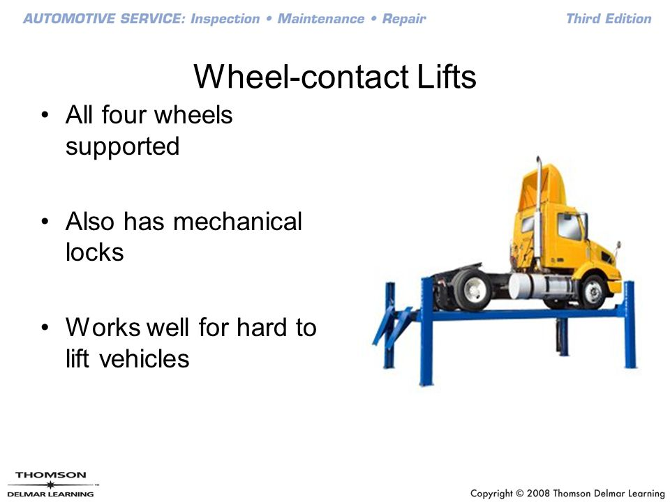 Wheel-contact Lifts All four wheels supported