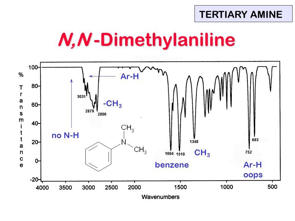 N,N -Dimethylaniline TERTIARY AMINE Ar-H -CH3 no N-H CH3 benzene Ar-H