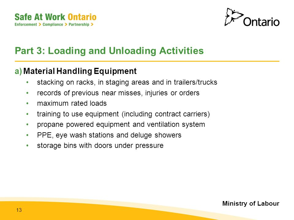 Part 3: Loading and Unloading Activities
