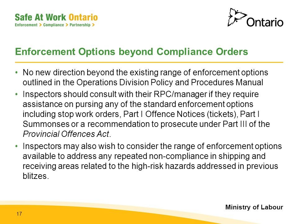Enforcement Options beyond Compliance Orders