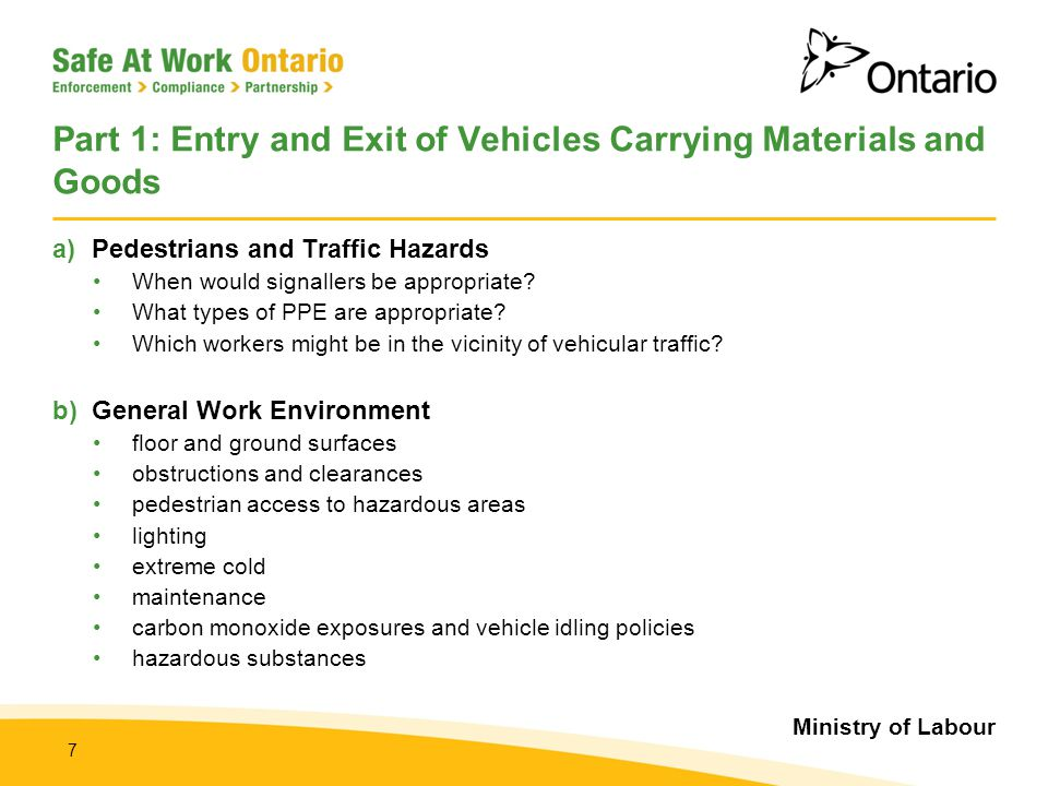 Part 1: Entry and Exit of Vehicles Carrying Materials and Goods