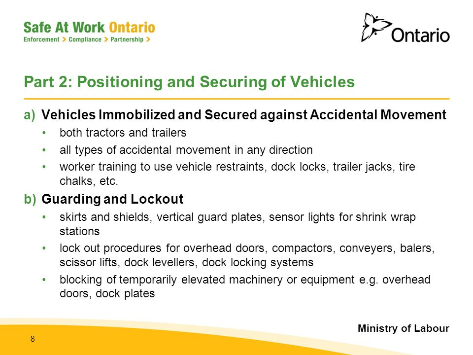 Part 2: Positioning and Securing of Vehicles