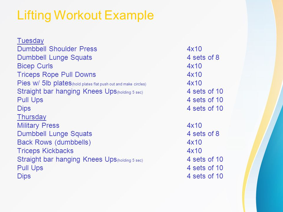 Lifting Workout Example