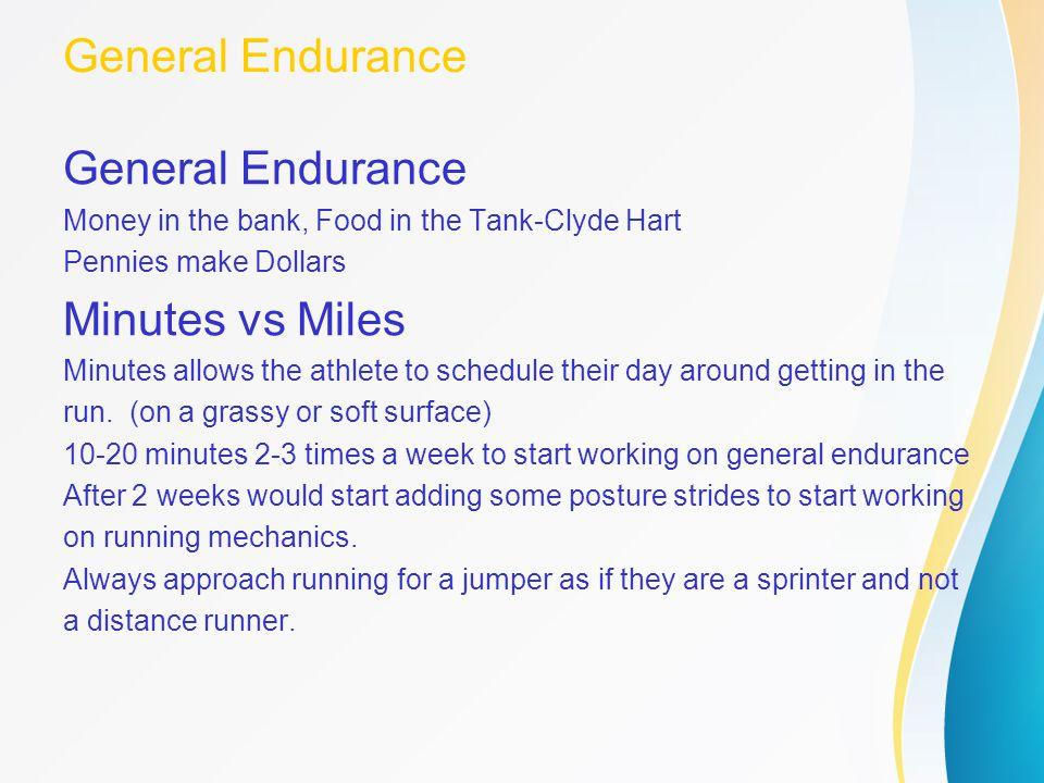 General Endurance General Endurance Minutes vs Miles