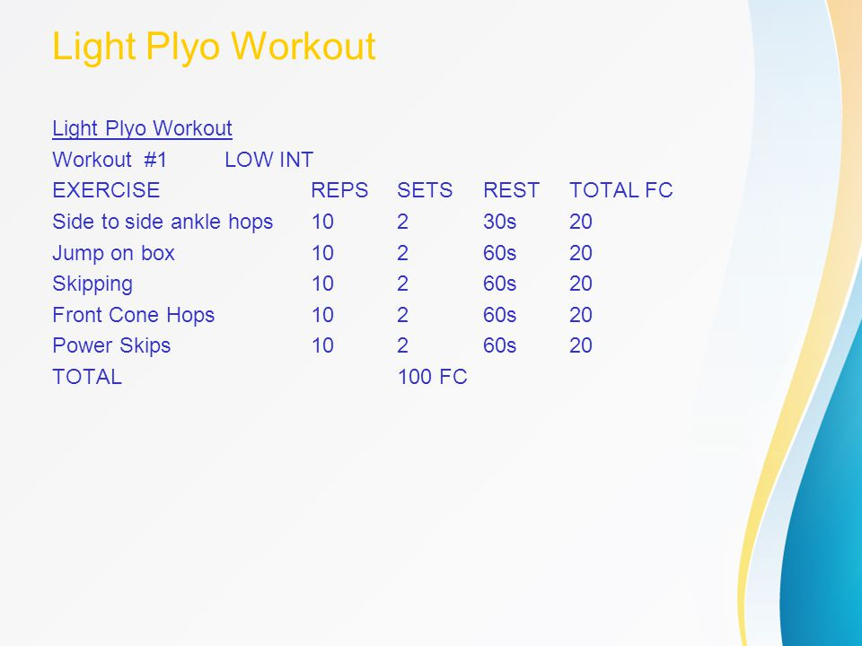 Light Plyo Workout Light Plyo Workout Workout #1 LOW INT