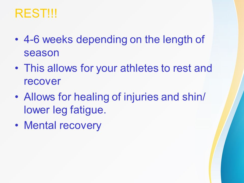 REST!!! 4-6 weeks depending on the length of season