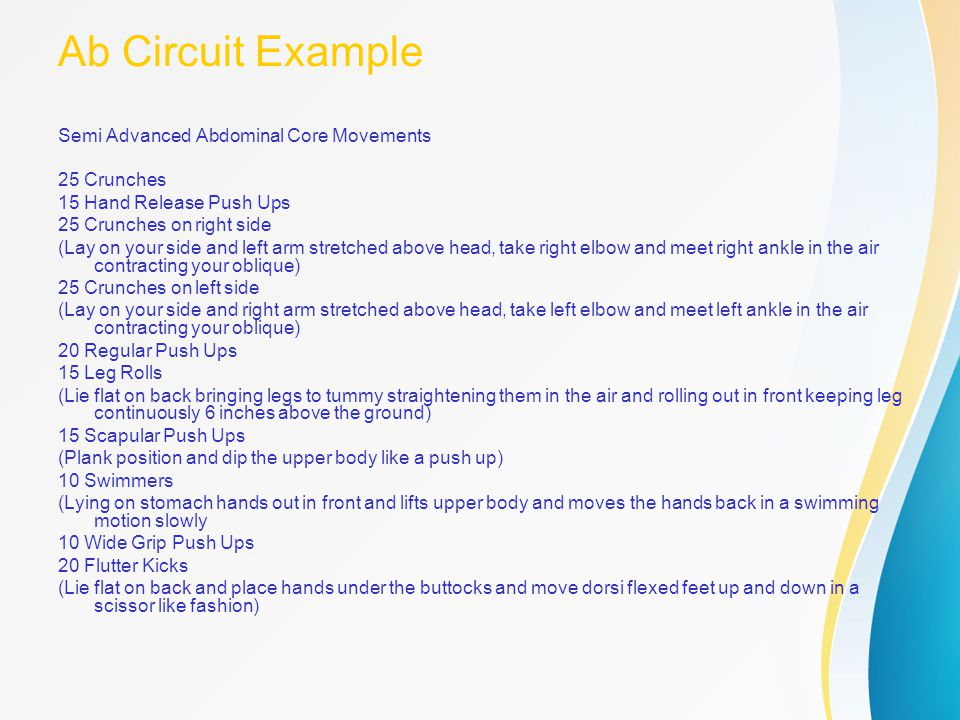 Ab Circuit Example Semi Advanced Abdominal Core Movements 25 Crunches