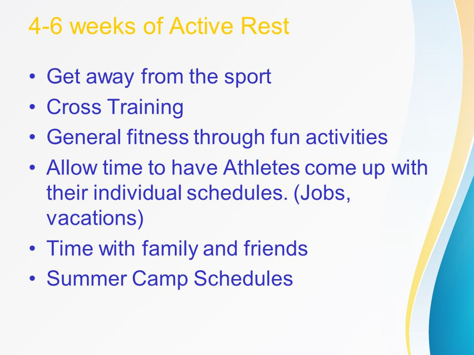4-6 weeks of Active Rest Get away from the sport Cross Training