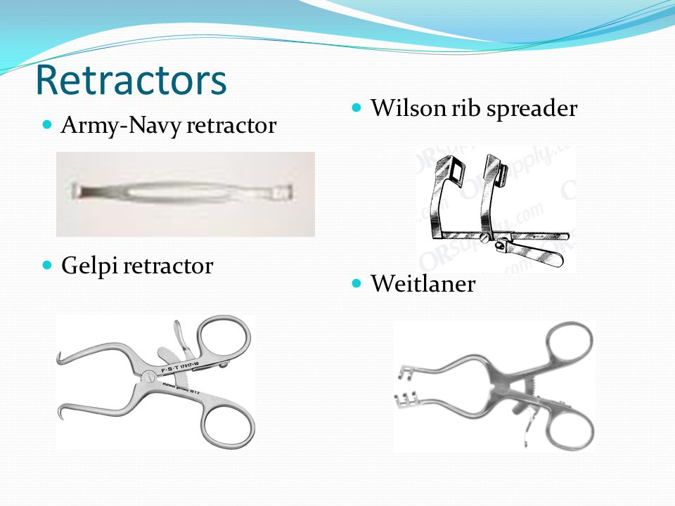 Retractors Wilson rib spreader Army-Navy retractor Gelpi retractor