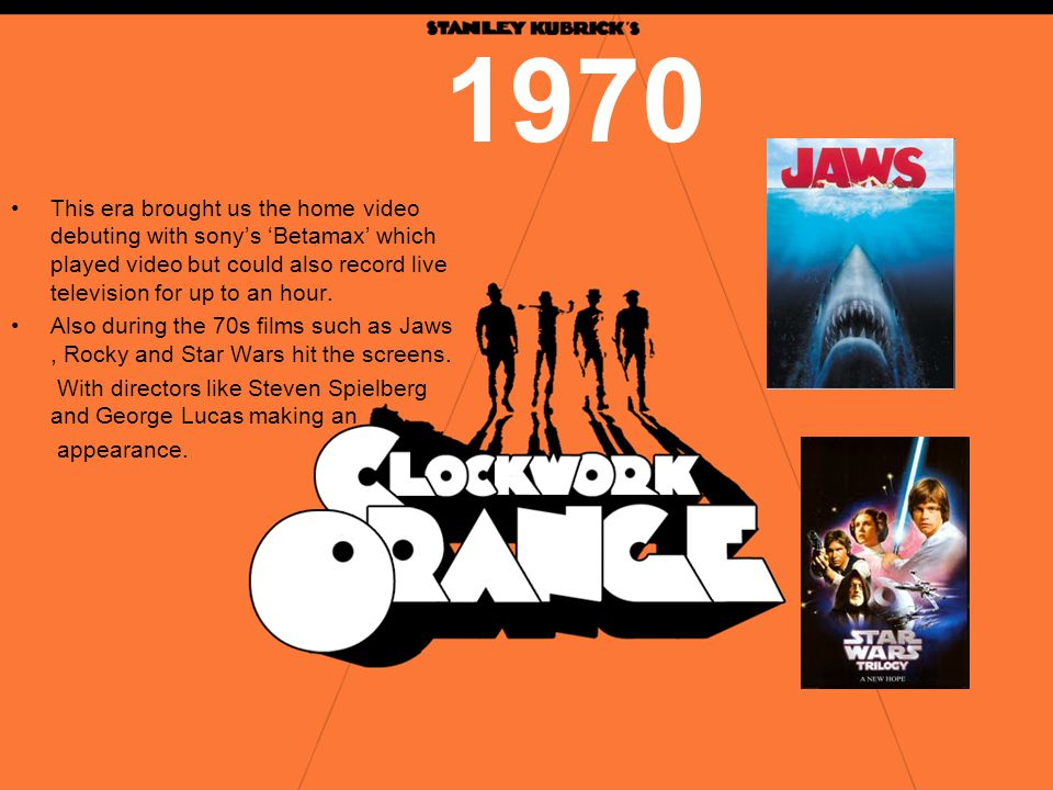 1970 This era brought us the home video debuting with sony's 'Betamax' which played video but could also record live television for up to an hour.