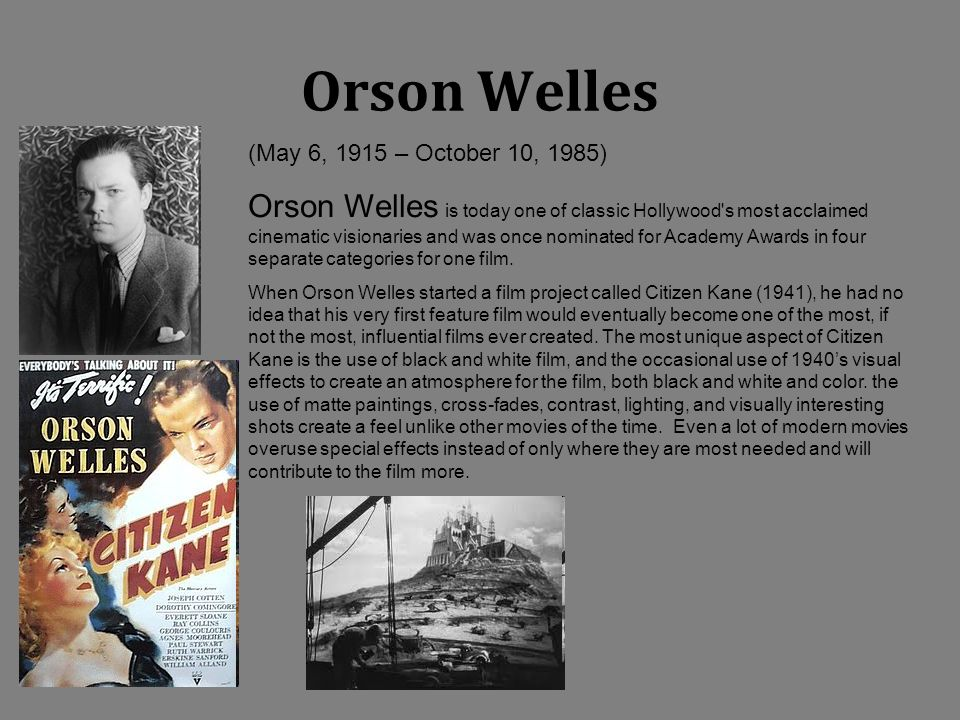 Orson Welles (May 6, 1915 – October 10, 1985)