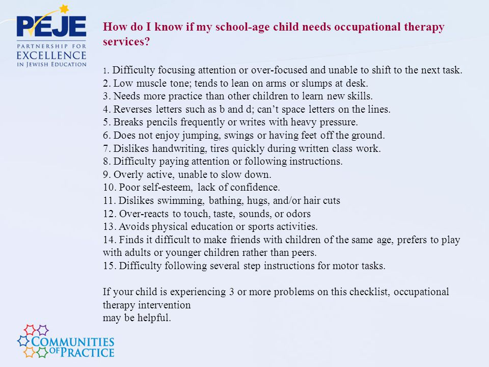 How do I know if my school-age child needs occupational therapy services
