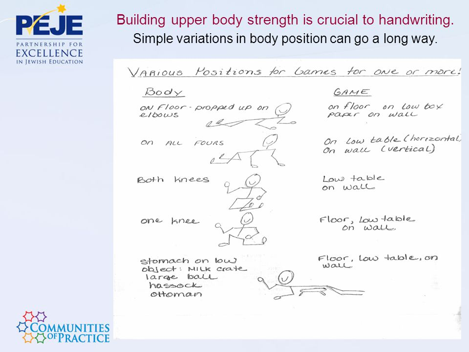 Building upper body strength is crucial to handwriting.