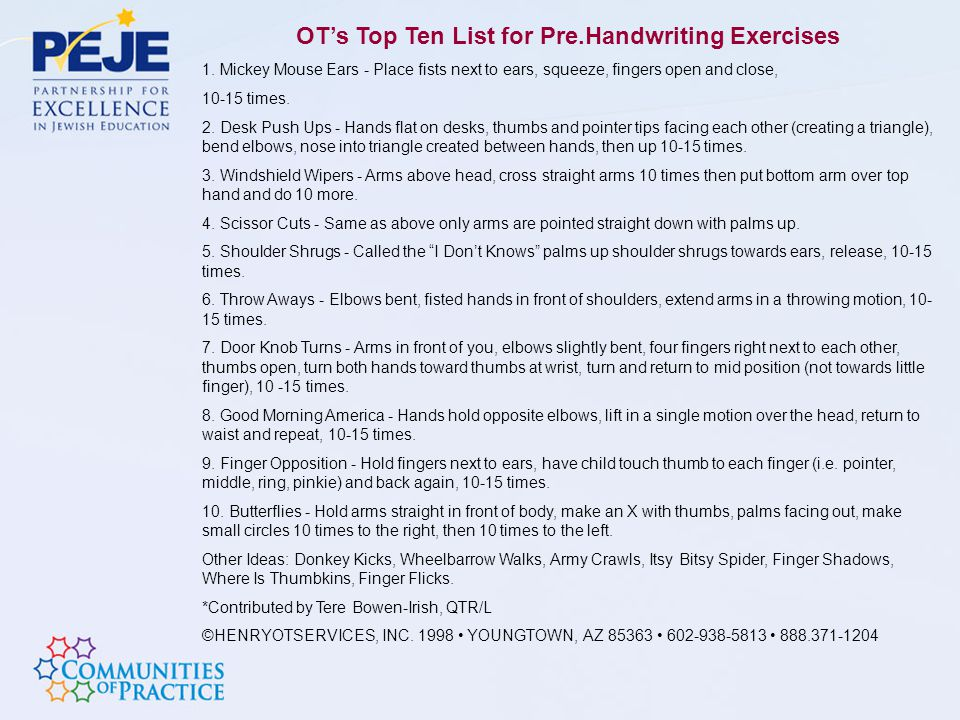 OT's Top Ten List for Pre.Handwriting Exercises
