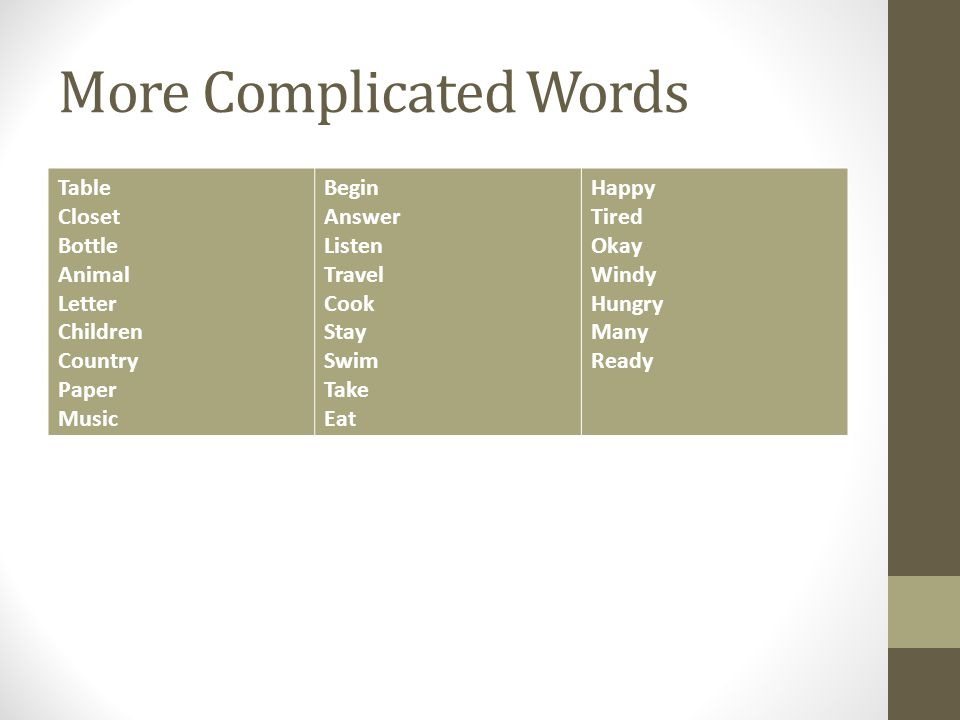 More Complicated Words
