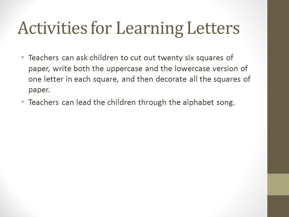 Activities for Learning Letters