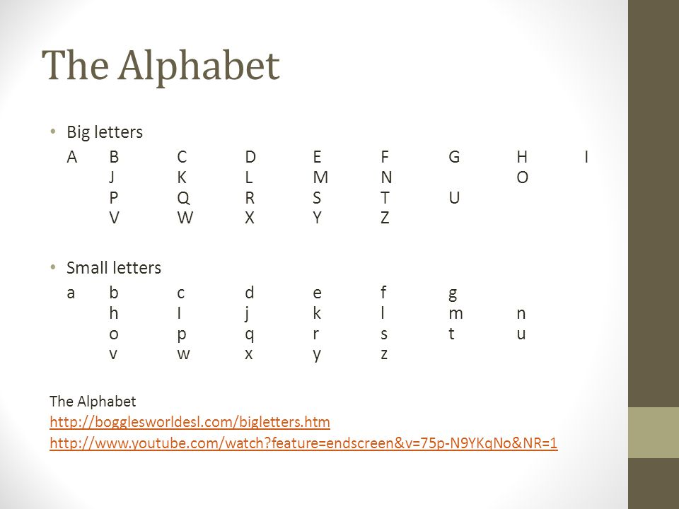 The Alphabet Big letters