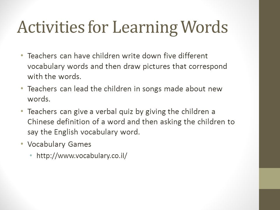Activities for Learning Words