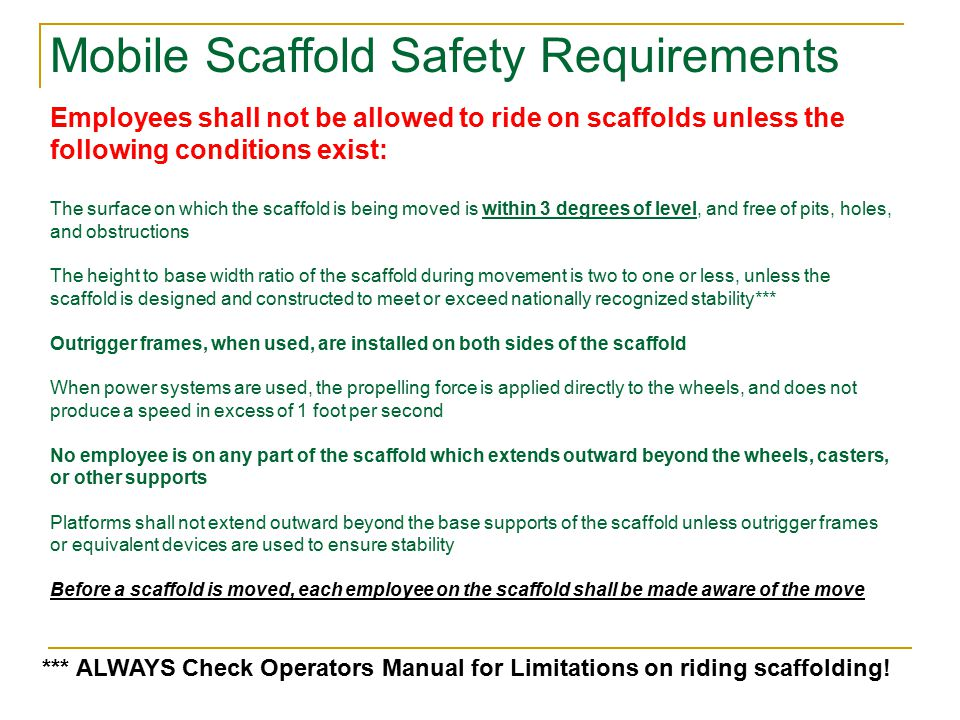 Mobile Scaffold Safety Requirements