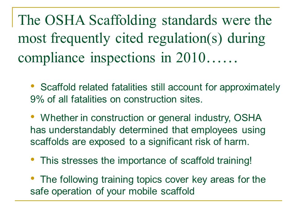 The OSHA Scaffolding standards were the most frequently cited regulation(s) during compliance inspections in 2010……