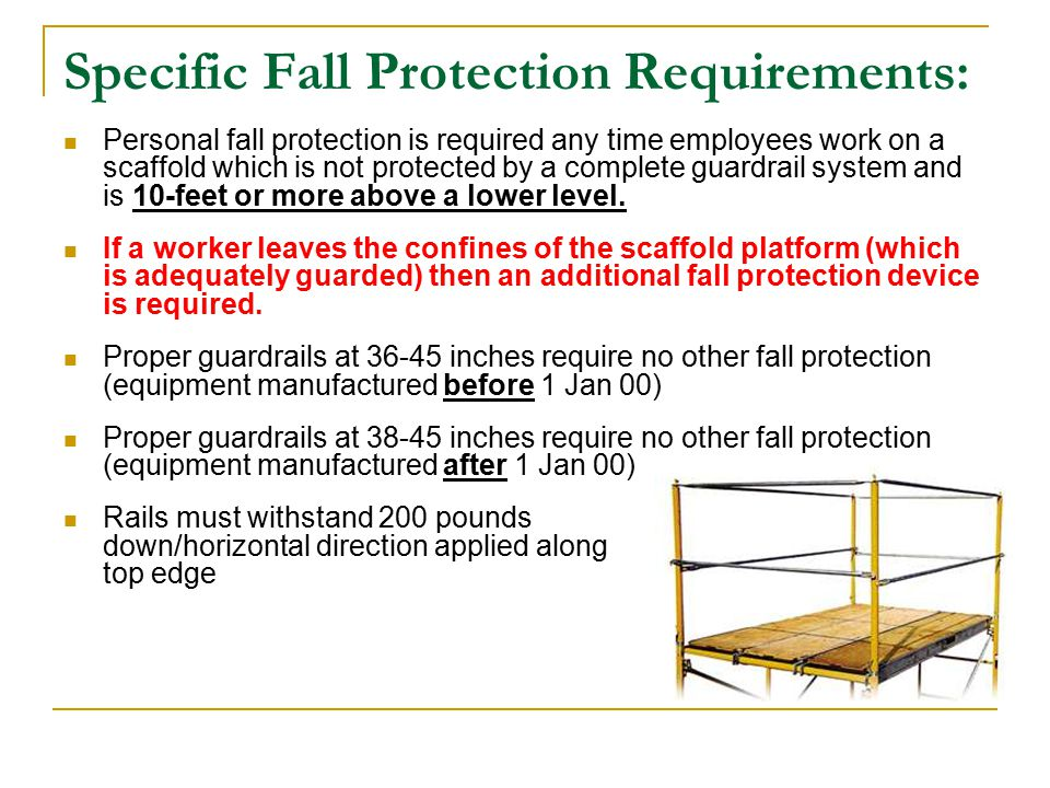 Specific Fall Protection Requirements: