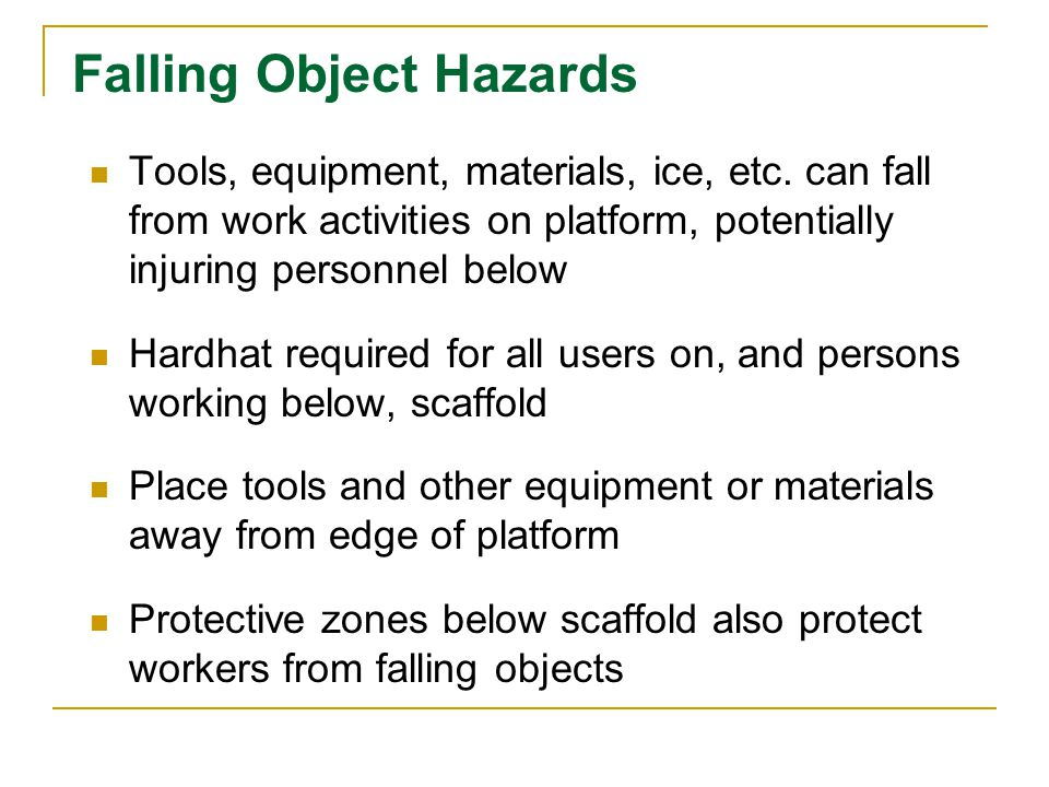 Falling Object Hazards