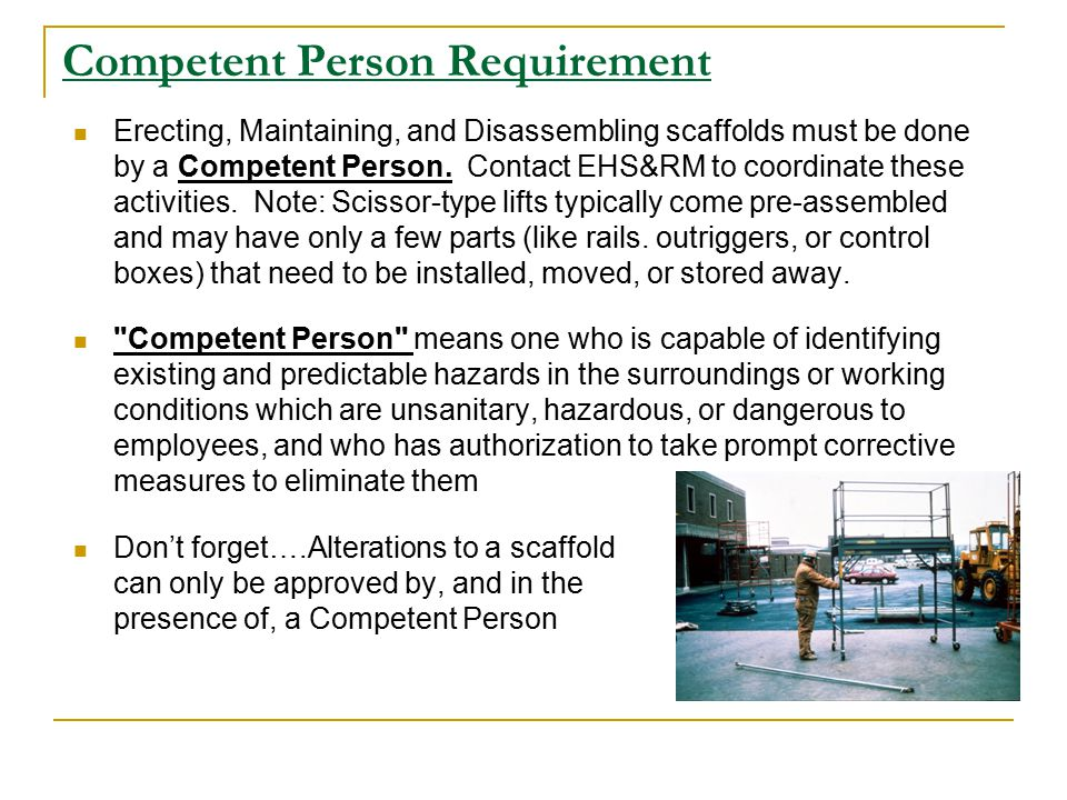 Competent Person Requirement