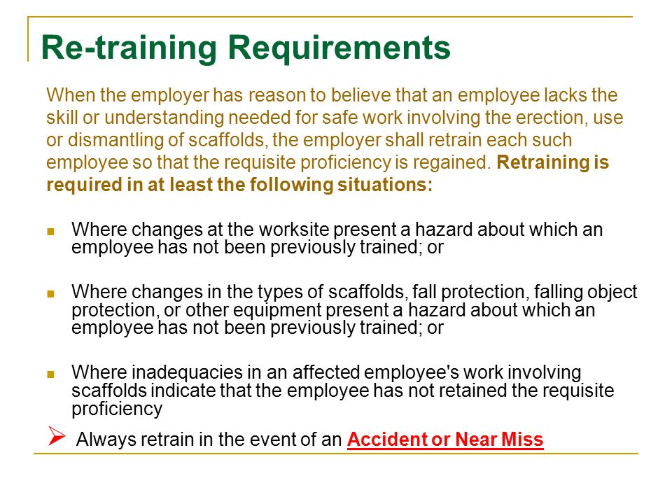 Re-training Requirements