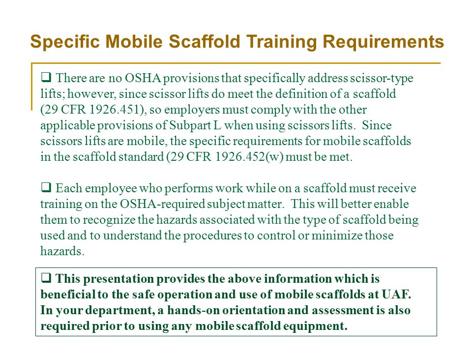 Specific Mobile Scaffold Training Requirements