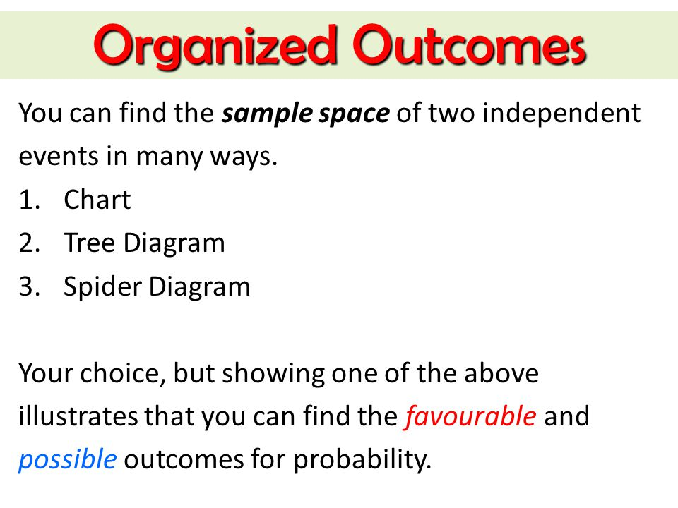 Organized Outcomes You can find the sample space of two independent