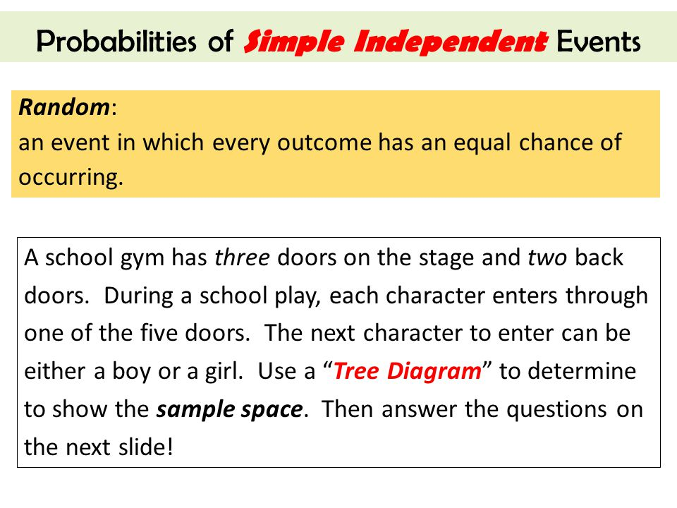 Probabilities of Simple Independent Events