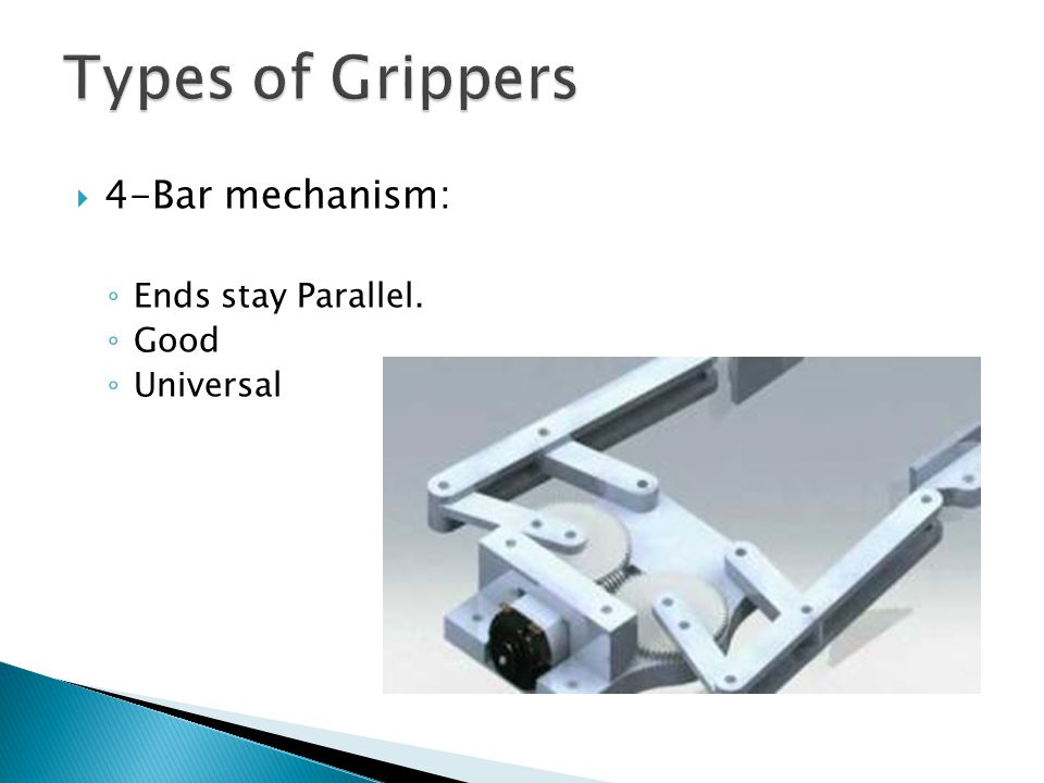 Types of Grippers 4-Bar mechanism: Ends stay Parallel. Good Universal